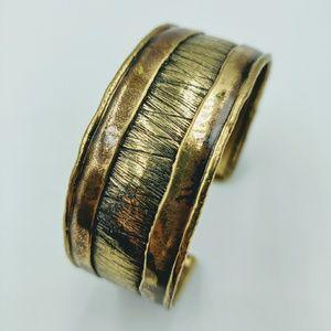 Jewelry - Bronze Copper Wide Cuff Bracelet Textured Boho